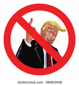 Anti Trump Sign Vector Illustration Icon. February 22, 2017
