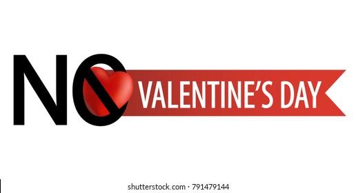 Anti Valentine's Day emblem. No love