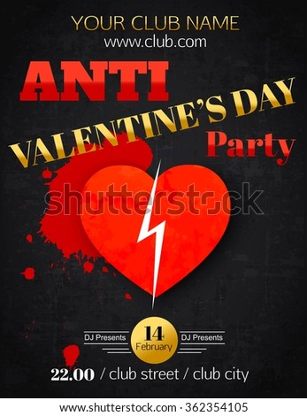 Anti Valentines Day Party Flyer Stock Vector Royalty Free