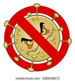 Anti virus sign with a funny cartoon germ.