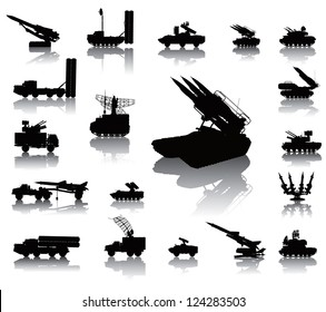 Anti-aircraft warfare silhouettes set. Vector on separate layers