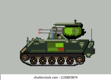 Anti-aircraft weapon tank.Pixel art. Vector Illustration isolated on background.