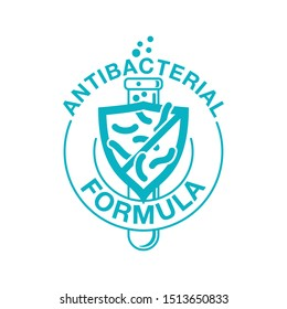 Antibacterial formula sign - crossed out bacteries inside protection shield and laboratory flask - vector isolated stamp for antiseptic cosmetics and medical products