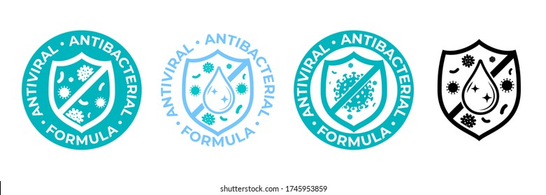 Antibacterial hand gel icon, anti bacterial antiseptic wash, vector logo. Covid coronavirus clean hygiene label, antiviral sanitizer protection shield sign, medical antibacterial alcohol hand wash