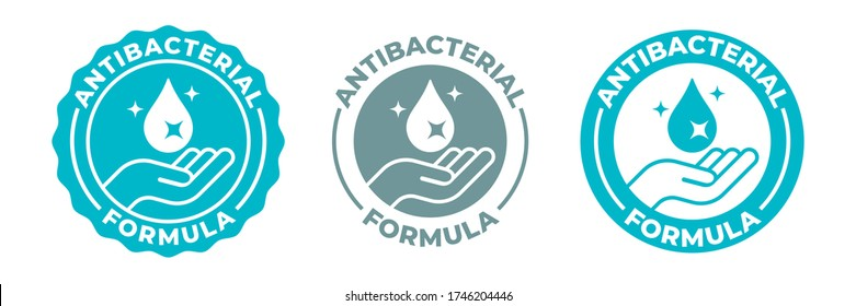 Antibacterial hand gel icon, vector shield logo, anti bacterial antiseptic hand wash. Covid coronavirus clean hygiene label, medical antibacterial alcohol sanitizer protection, antiviral shield