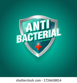 Antibacterial hand sanitizer logo. Sanitizer gel, antiseptic label. Green and silver glossy shield with letters and medical cross.