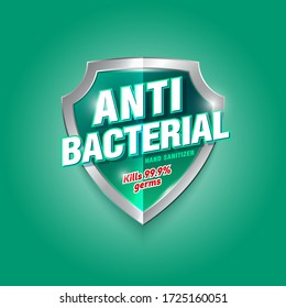 Antibacterial hand sanitizer logo. Sanitizer gel, antiseptic label. Green and silver glossy shield with letters.