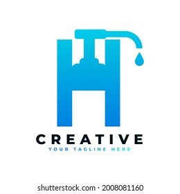Antibacterial Hand Sanitizer Logo. Initial Letter H with Hand Sanitizer Logo.