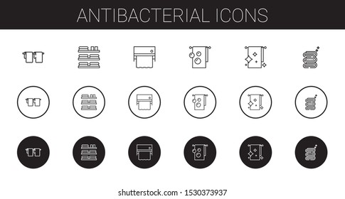 antibacterial icons set. Collection of antibacterial with towel, towels. Editable and scalable antibacterial icons.