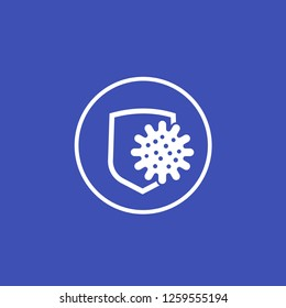 antibacterial protection icon with shield