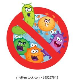 Antibacterial sign with germ, bacteria, virus.