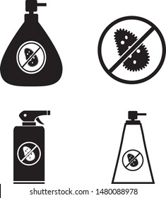 Antibacterial soap bottle and spray vector icon set, hygiene, sterile zone
