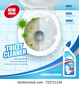Antibacterial toilet cleaner ad poster including lavatory pan with green microbes and soap bubbles 3d vector illustration