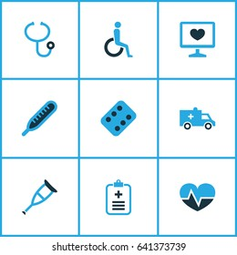 Antibiotic Colorful Icons Set. Collection Of Heartbeat, Form, Ambulance And Other Elements. Also Includes Symbols Such As Disabled, Crutch, Heal.