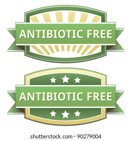 Antibiotic free food label, badge or seal with green and yellow color in vector