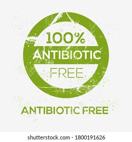(Antibiotic free) label sign, vector illustration.
