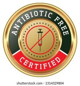 Antibiotic Free. Vector Golden Badge.
