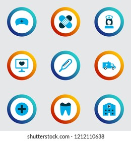 Antibiotic icons colored set with medic cap, nurse, patch and other care elements. Isolated vector illustration antibiotic icons.