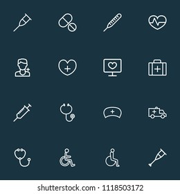 Antibiotic icons line style set with handicapped man, stethoscope, stand doctor  elements. Isolated vector illustration antibiotic icons.