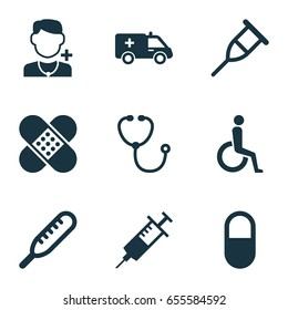Antibiotic Icons Set. Collection Of Handicapped, First-Aid, Injection Elements. Also Includes Symbols Such As Nurse, Rack, Physician.