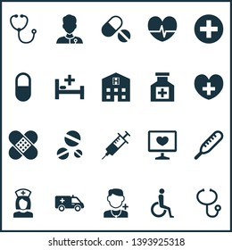 Antibiotic icons set with drug, ambulance, medic and other device elements. Isolated vector illustration antibiotic icons.