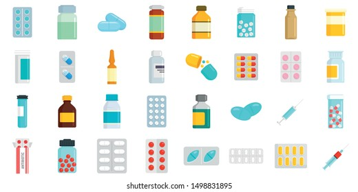 Antibiotic icons set. Flat set of antibiotic vector icons for web design