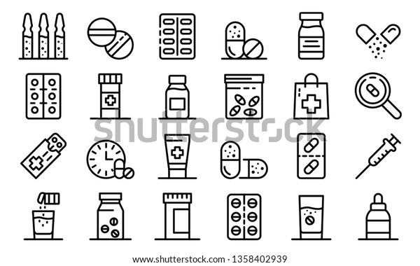 Antibiotic icons set. Outline set of antibiotic vector icons for web design isolated on white background