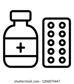 A antibiotic medicine jar with pills strip