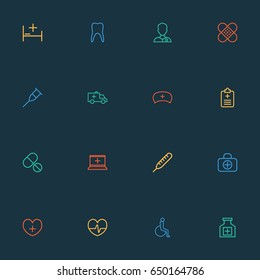 Antibiotic Outline Icons Set. Collection Of Life, Plaster, Pills And Other Elements. Also Includes Symbols Such As Claw, Man, Equipment.
