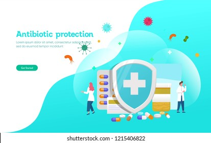 Antibiotic protection vector illustration concept, people fight with virus and bactery with shield and pill, can use for, landing page, template, ui, web, mobile app, poster, banner, flyer, poster