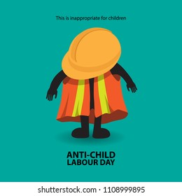Anti-Child Labour Day with a child wears a workers clothes.