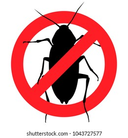 Anti-cockroach, pest control, destruction of parasites, stop insect (vector, black contour, isolated, white background)