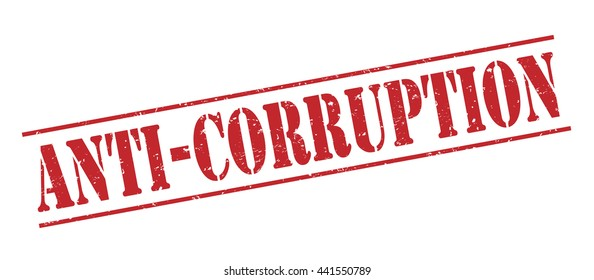 anti-corruption vector stamp on white background
