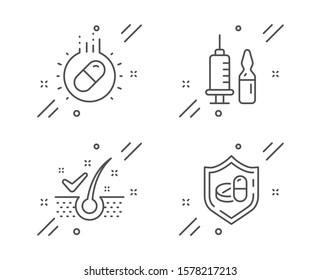 Anti-dandruff flakes, Capsule pill and Medical vaccination line icons set. Medical tablet sign. Healthy hair, Medicine drugs, Syringe vaccine. Medicine pill. Healthcare set. Vector