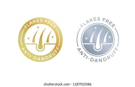 Anti-dandruff flakes free logo icon for shampoo. Vector hair oil dandruff design.