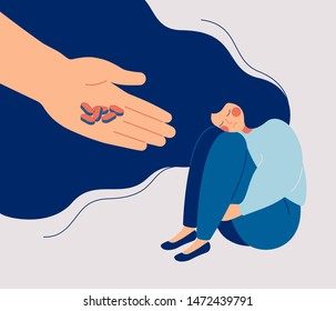 Antidepressant saving woman from depression. Apathetic sad girl sitting and hugging her knees. Concept of medication treating illness or disorder. Cartoon flat vector illustration.