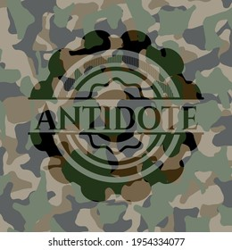 Antidote on camo texture. Vector Illustration. Detailed.