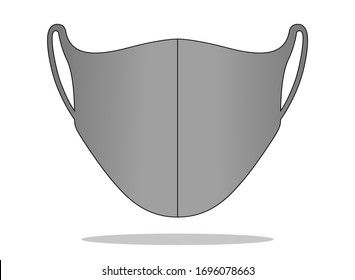Anti-Dust Gray Face Mask Fabric Vector For Running