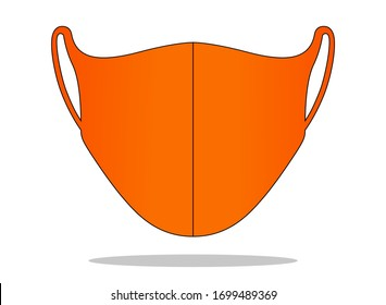 Anti-Dust Orange Face Mask Fabric Vector For Running
