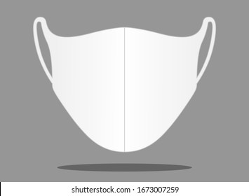Anti-Dust White Face Mask Fabric Vector For Running