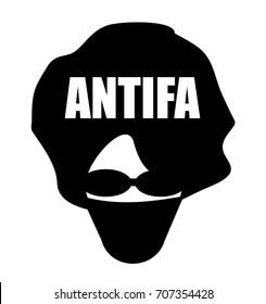 antifa anarchist wearing mask and sunglasses