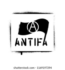 ''ANTIFA'' spray paint graffiti stencil. Common name for militant and radical antifascists, communists, leftists and anarchists.