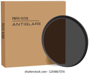Antiglare photo lens for camera lens. Vector illustration.