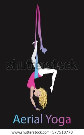 7ec7638e Anti-Gravity yoga vector illustration. Aerial yoga training. Girl in  hammock doing fly