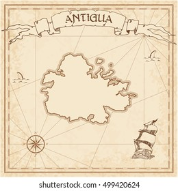 Antigua Old Treasure Map Sepia Engraved Template Of Island Parchment Vector Stylized