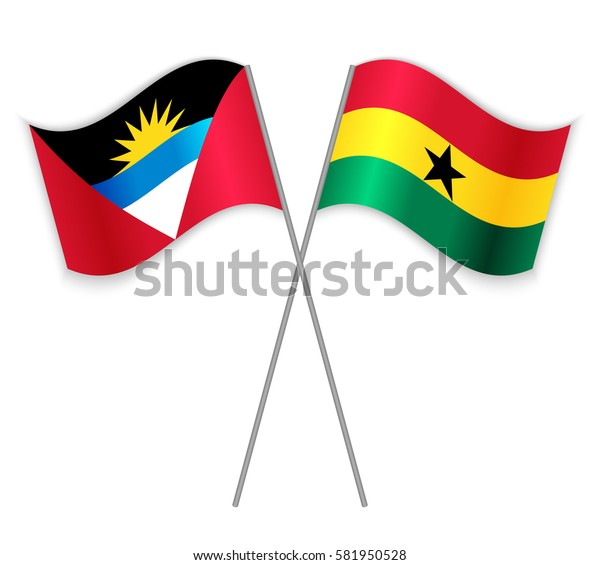 Antiguan and Ghanaian crossed flags. Antigua and Barbuda combined with Ghana isolated on white. Language learning, international business or travel concept.
