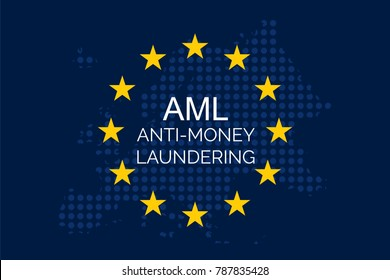 Anti-money laundering concept on european union flag (AML)