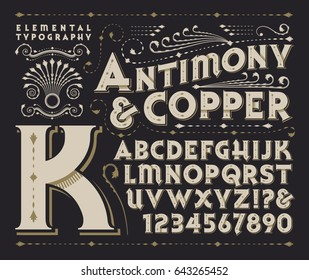 Antimony & Copper is an original type design and 3d treatment. This file includes all capitals, numerals, some punctuation, and several beautiful design elements.