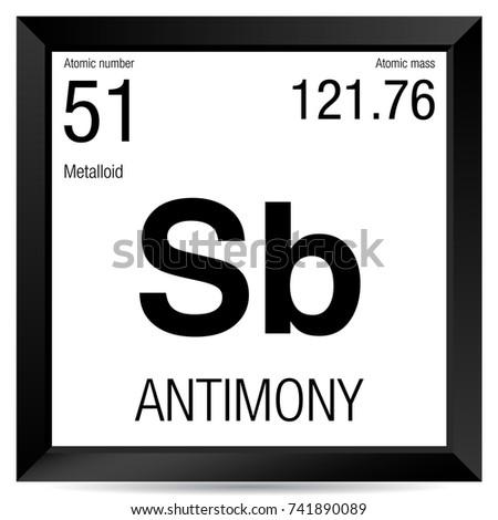 Antimony Symbol Element Number 51 Periodic Stock Vector Royalty