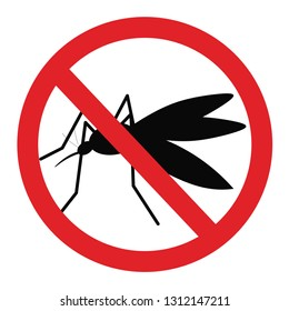 Antimosquito insect control sign. Forbidden icon. Mosquitoes prohibited symbol. Stop and control mosquito insects.